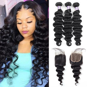 Allove Hair Brazilian Loose Deep Wave Hair 3 Bundles With 4*4 Lace Closure
