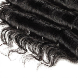 Allove Hair Peruvian Loose Deep Wave 3 Bundles with 13*4 Lace Frontal Human Hair