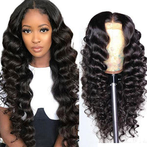 Loose Deep Wave Hair T-part Lace Front Wig 100% Virgin Human Hair Wigs