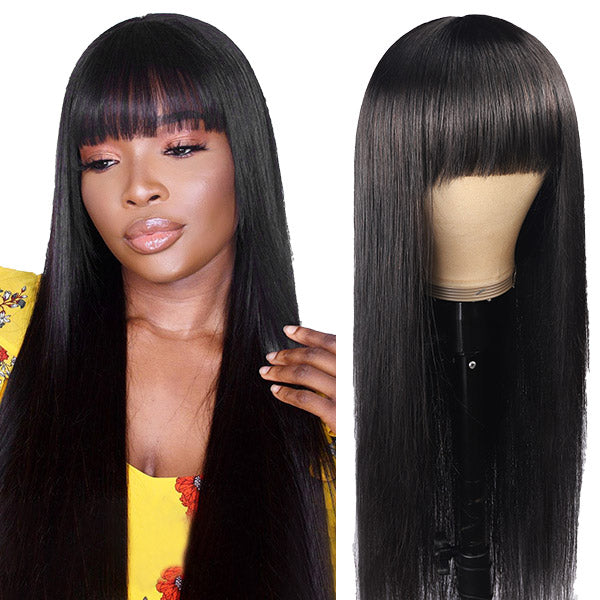 Straight Full Machine Made Wig With Neat Bangs