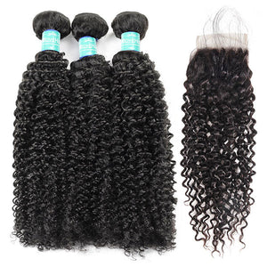 10A Remy Malaysian Curly Hair 3Bundles With 4*4 Lace Closure With Baby Hair : ALLOVEHAIR