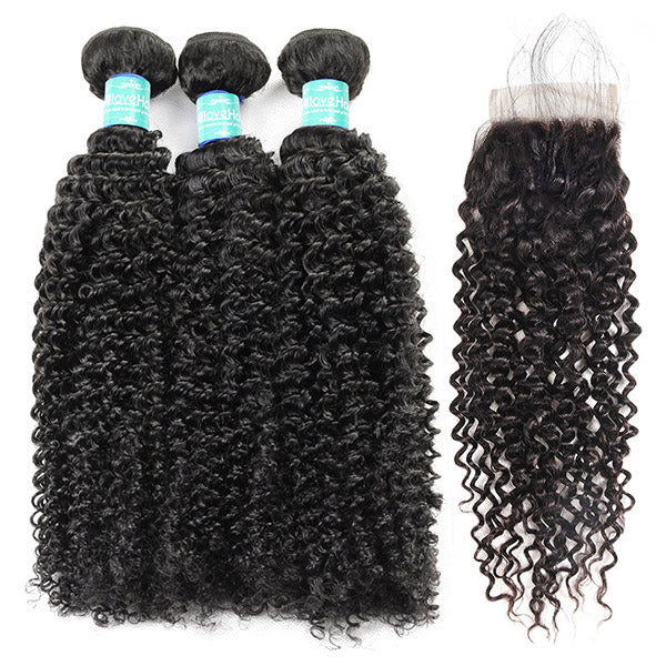 10A Remy Peruvian Curly Hair 3 Bundles With 4*4 Lace Closure With Baby Hair : ALLOVEHAIR