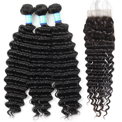 10A Remy Peruvian Deep Wave Hair 3 Bundles With 4*4 Lace Closure With Baby Hair : ALLOVEHAIR