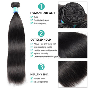 10A Remy Malaysian Straight Hair 3 Bundles With 4*4 Lace Closure With Baby Hair : ALLOVEHAIR
