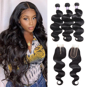 Overnight Shipping Body Wave 3 Bundles With 2*4 Lace Closure Available For USA : ALLOVEHAIR