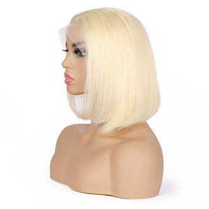 Allove 613 Blonde T-Part Lace Front Straight Short Bob Human Hair Wig