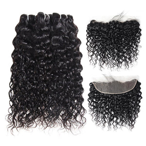 Brazilian Water Wave 3 Bundles with 13*4 Lace Frontal Virgin Human Hair
