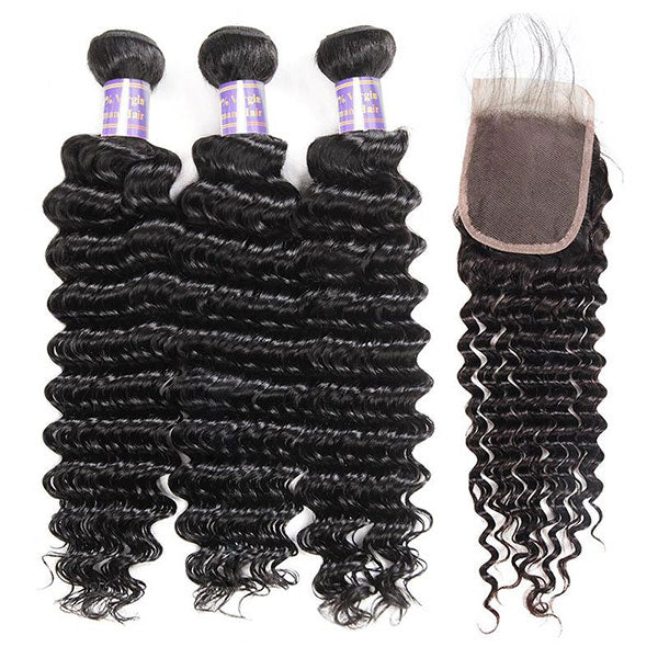 Malaysian Deep Wave 3 Bundles with 4*4 Lace Closure Virgin Human Hair