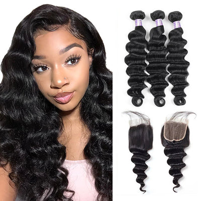 Brazilian Loose Deep Wave Hair 3 Bundles With 4*4 Lace Closure