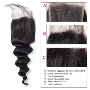 Malaysian Loose Deep Wave 3 Bundles with 4*4 Lace Closure Virgin Hair