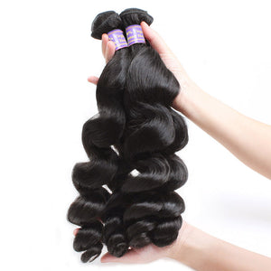 Allove Hair Loose Wave 3 Bundles Human Hair With 2*4 Lace Closure 100% Human Hair