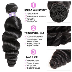 Brazilian Loose Wave Virgin Human Hair 2 Bundles with 360 Lace Closure