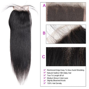 Allove Hair Wholesale 10 Bundles Straight 4x4 Lace Closure