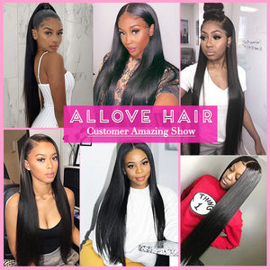 Brazilian Straight Virgin Hair 3 Bundles with 4*4 Lace Closure Allove Hair