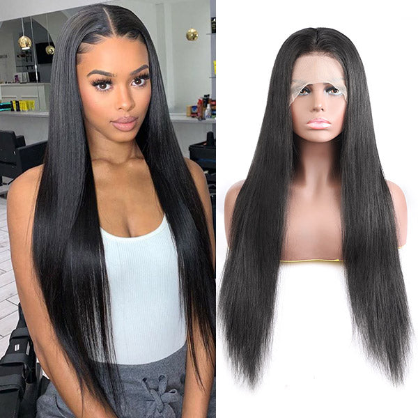 Straight Hair 13*4 Transparent Lace Front Wig 10A Grade Virgin Remy Human Hair Wigs : ALLOVEHAIR
