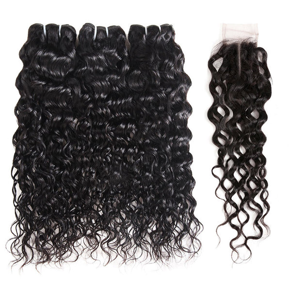 Allove Hair Water Wave 3 Bundles With 2*4  Lace Closure Middle Part