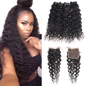 Peruvian Water Wave 4 Bundles with 4*4 Lace Closure Human Hair : ALLOVEHAIR