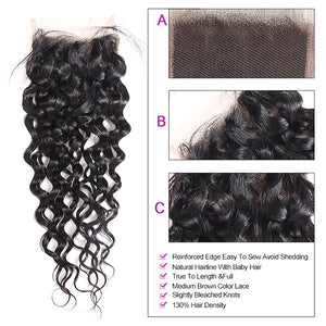 Peruvian Water Wave 4 Bundles with 4*4 Lace Closure Human Hair