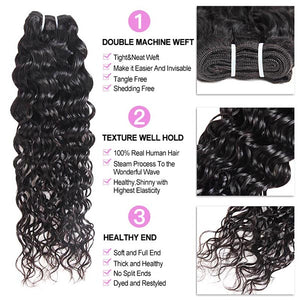 Malaysian Water Wave 4 Bundles Human Hair Weaves