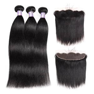 Allove Hair Peruvian Straight Hair 3 Bundles with 13*4 Lace Frontal