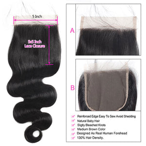 Brazilian Body Wave Virgin Hair 3 Bundles with 5*5 Lace Closure : ALLOVEHAIR