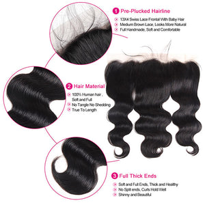 Indian Body Wave 3 Bundles With 13*4 Lace Frontal Virgin Human Hair