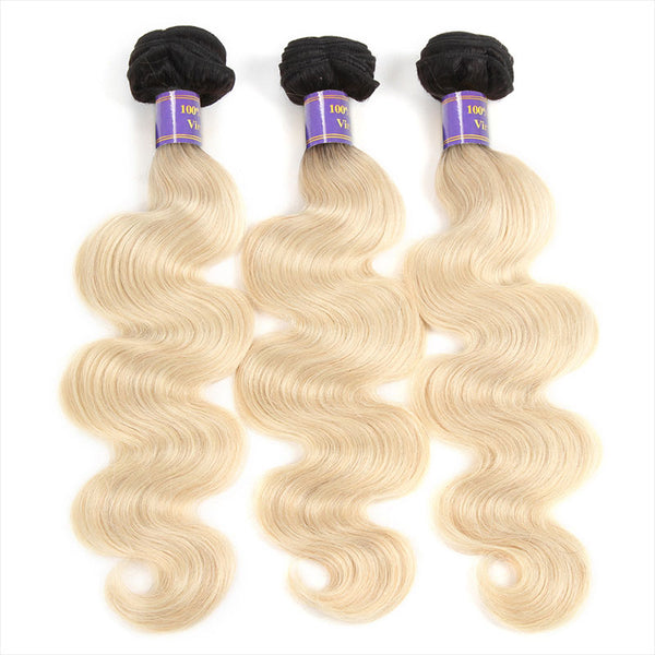 ALLove Hair #1B-613 Blonde Remy Hair 3 Bundles Body Wave Human Hair Weave : ALLOVEHAIR