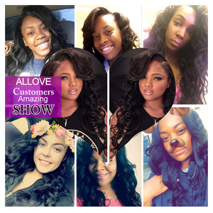 Peruvian Body Wave 4 Bundles With 4*4 Lace Closure Virgin Human Hair : ALLOVEHAIR