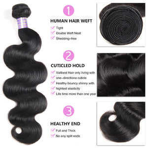 Allove Hair Body Wave 3 Bundles with 6*6 Lace Closure Human Remy Hair : ALLOVEHAIR
