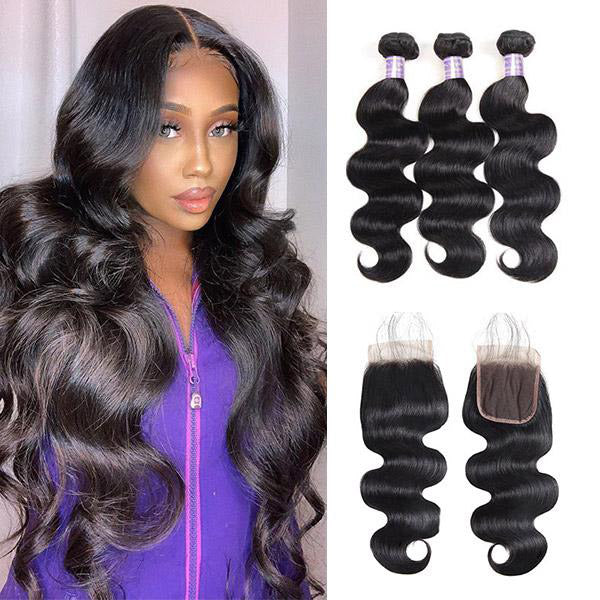 Brazilian Body Wave 3 Bundles with Lace Closure Human Hair