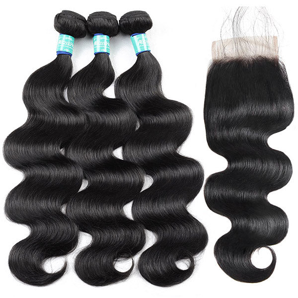 10A Remy Peruvian Body Wave Hair 3 Bundles With 4*4 Lace Closure With Baby Hair : ALLOVEHAIR