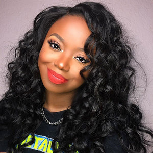 Allove Hair Brazilian Virgin Loose Wave Human Hair 4 Bundles with Lace Frontal : ALLOVEHAIR