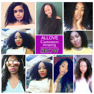 Allove Hair Indian Virgin Human Hair Extensions Kinky Curly 3 Bundles : ALLOVEHAIR