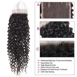 8A Grade Kinky Curly 4*4 Lace Closure Virgin Human Hair : ALLOVEHAIR