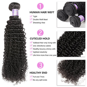 Malaysian Kinky Curly 2 Bundles with 360 Lace Closure Virgin Hair : ALLOVEHAIR