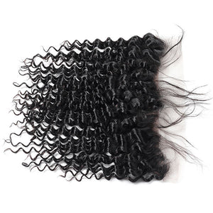 Peruvian Deep Wave 3 Bundles with 13*4 Lace Frontal Virgin Human Hair : ALLOVEHAIR