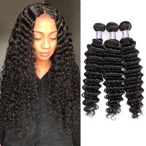 Allove Hair Indian Deep Wave 3 Bundles Virgin Human Hair : ALLOVEHAIR