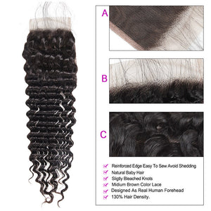 Overnight Shipping Deep Wave Hair 3 Bundles With Lace Closure Available For USA : ALLOVEHAIR