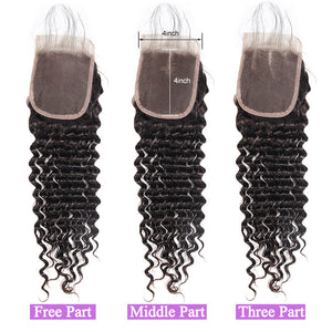 Malaysian Deep Wave 4 Bundles with 4*4 Lace Closure Virgin Human Hair : ALLOVEHAIR