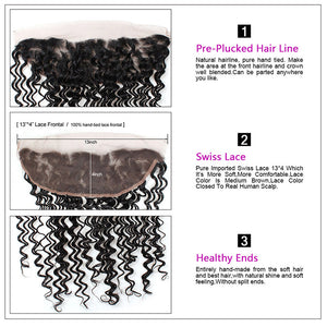 Allove Hair Deep Wave 13*4 Lace Frontal Closure Virgin Human Hair : ALLOVEHAIR