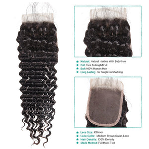 10A Remy Peruvian Deep Wave Hair 3Bundles With 4x4 Lace Closure With Baby Hair : ALLOVEHAIR