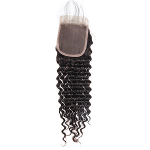 Aug,20th Flash Sale Brazilian Deep Wave 3 Bundles with 4*4 Lace Closure (22 22 22+20=$89.9) Virgin Hair : ALLOVEHAIR