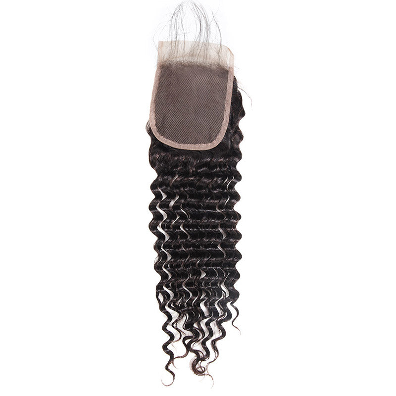 Deep Wave 4*4 Lace Closure Virgin Human Hair : ALLOVEHAIR