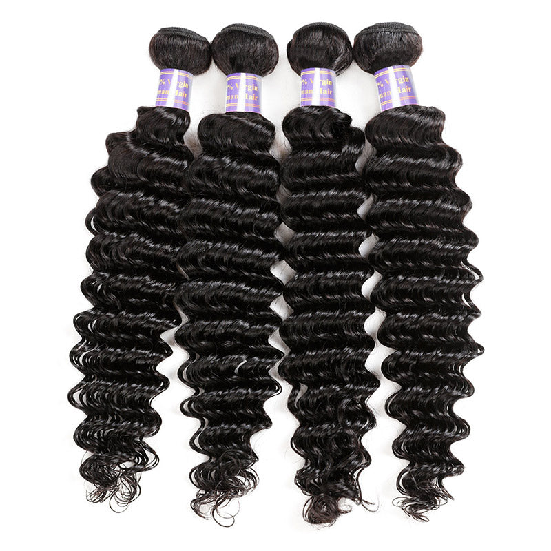 Allove Hair Peruvian Deep Wave 4 Bundles Virgin Human Hair : ALLOVEHAIR