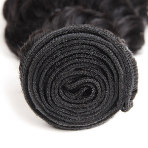 Allove Hair Indian Virgin Deep Wave Human Hair 3 Bundles With 13*4 Lace Frontal : ALLOVEHAIR