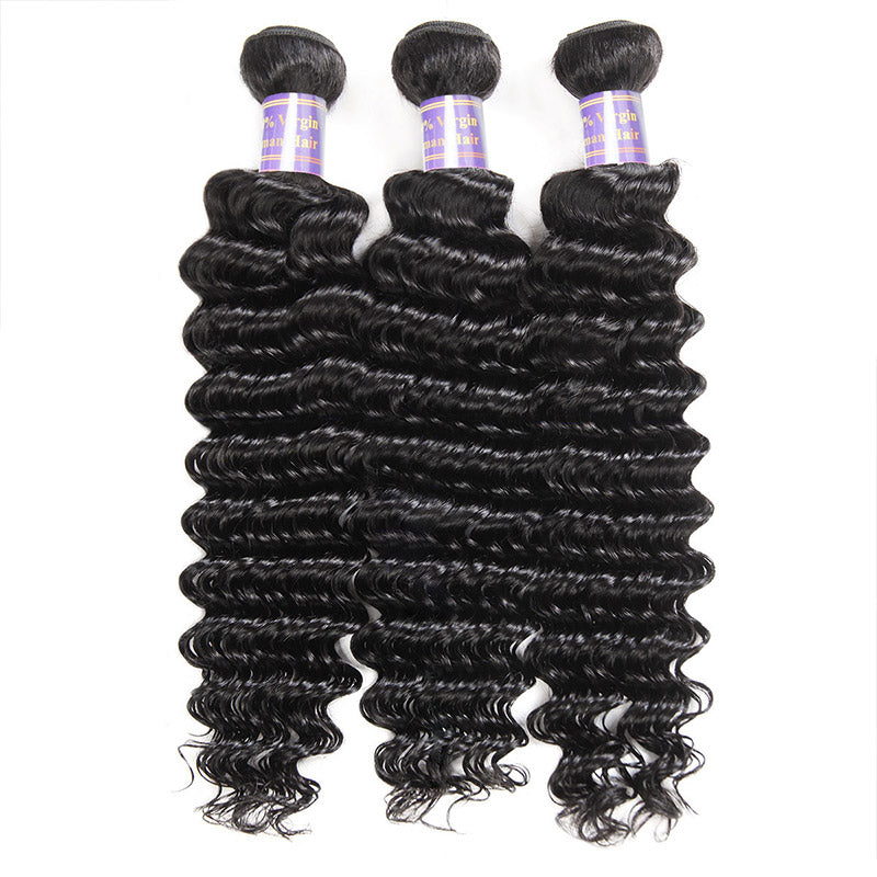 Overnight Shipping Deep Wave Hair 3 Bundles With Lace Closure Available For USA