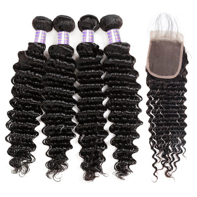 Peruvian Deep Wave 4 Bundles with 4*4 Lace Closure Virgin Human Hair : ALLOVEHAIR