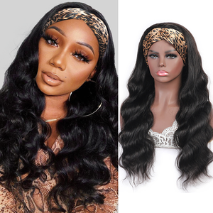 Allove 150% Density Long 10-30 Inch Human Hair Headband Wig