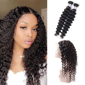 Indian Deep Wave 2 Bundles with 360 Lace Frontal Closure Virgin Hair : ALLOVEHAIR