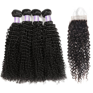Peruvian Curly Wave 4 Bundles With Lace Closure Human Hair : ALLOVEHAIR